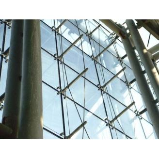 Монтаж светопрозрачного фасада по системе Спайдерного остекления под заказ