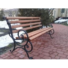 Скамейка парковая Ручная работа XXI Век с перилами бараш 1,3 м
