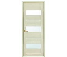 Дверное полотно Экошпон Лилу со стеклом сатин дуб жемчужный