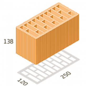 Поризованый керамичный блок Керамейя Теплокерам 380x250x219 мм