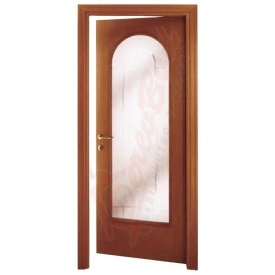 Двери из ольхи DerevBud темные со стеклом 42х700х1900 мм