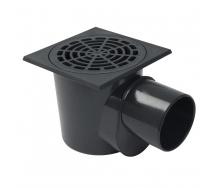 Сифон напольный Nicoll с горизонтальным отводом и съемной корзиной черный
