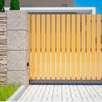 Распашные ворота Alutech Elegant деревянная доска