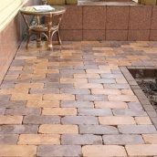 Тротуарная плитка Золотой Мандарин Роттердам Антик 250х120х65 мм на сером цементе персиковый
