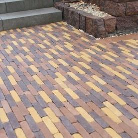 Тротуарна плитка Золотий Мандарин Барселона Антик 186х45х60 мм на сірому цементі коричневий