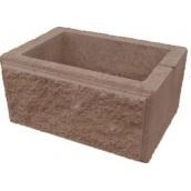Блок декоративний рваний камінь для стовпа 300х400 мм коричневий