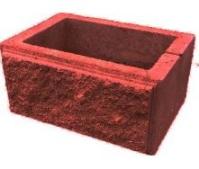 Блок парканний для стовпа рваний камінь 300х400 мм червоний
