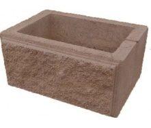 Блок декоративный рваный камень для столба 300х400 мм коричневый