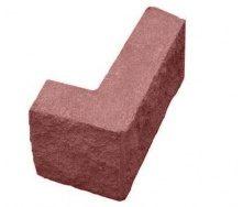 Блок декоративний рваний камінь кутовий 390х190х90х190 мм червоний