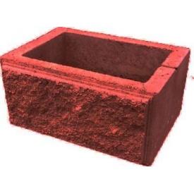 Блок парканний для столба рваный камень 300х400 мм красный