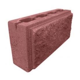 Блок декоративный рваный камень с фаской для забора 390х90х190 мм красный