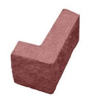 Блок декоративный рваный камень угловой 390х190х90х190 мм красный