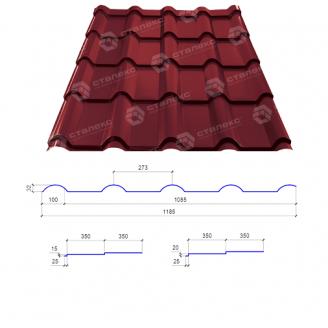 Металлочерепица Сталекс AFINA 350/15 0,45 мм РЕ Китай (Sutor Steel) (RAL3011/коричнево-красный)