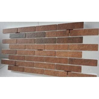 Термопанель с фасадной плиткой керамогранит Golden Tile BrickStyle Seven Tones 1000x600 мм оранж