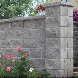 Блок декоративный для столба Золотой Мандарин М-200 двухсторонний скол 400х400х150 мм серый