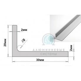 Уголок алюминиевый 30х20х2 мм АД31 Т5 анод