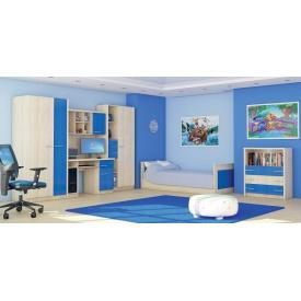Стенка Мебель-Сервис Денди 3100х2020х420 мм береза/синий