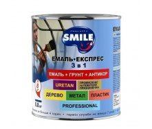 Эмаль-экспресс SMILE гладкое покрытие 3в1 антикоррозионная 0,8 кг белый