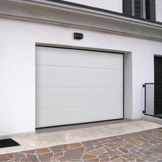 Ворота гаражні секційні Ryterna R40 stucco макросмуга RAL 9016 білий