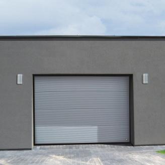 Ворота гаражні секційні Ryterna R40 stucco макросмуга RAL 9007