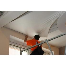 Монтаж натяжного потолка с материалом