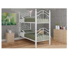Двухъярусная кровать Металл-Дизайн Диана 1900х800х2070 мм белая на деревянных ножках