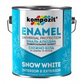 Эмаль алкидная универсальная Kompozit глянцевая 0,9 л снежно-белый