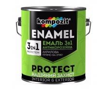 Эмаль антикоррозионная Kompozit 3 в 1 шелковисто-матовая 2,7 кг желтый