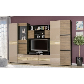 Гостиная Мебель-Сервис Гламур 3000х1980х570 мм венге темный/орех селекта