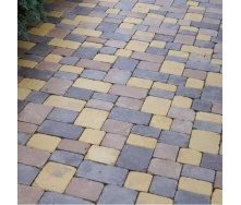 Тротуарная плитка Золотой Мандарин Плац Антик 160х60 мм на сером цементе коричневый