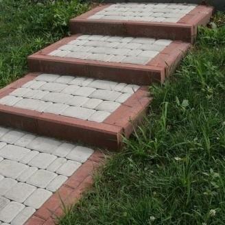 Тротуарная плитка Золотой Мандарин Старый город 120х80 мм на белом цементе белый