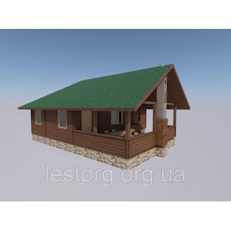 Строительство бани деревянной с верандой 70 м2