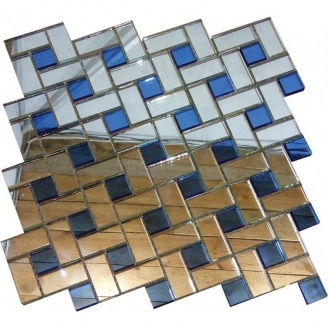 Мозаика зеркальная на сетке VIVACER ZD-16, 43x22; 20x20 мм