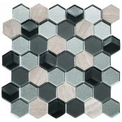Мозаика мрамор стекло VIVACER SB03, 4,8х5,5 cм