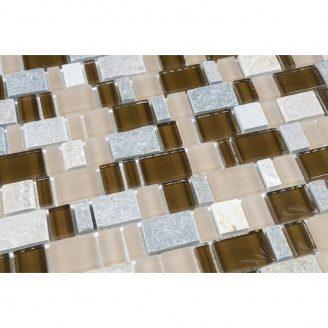 Мозаика мрамор стекло VIVACER DAF106, 31х30 cм