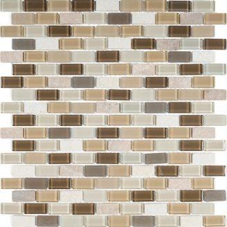 Мозаика мрамор стекло VIVACER 1,5х3 DAF101, 30,5х30,5 cм