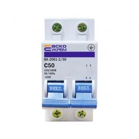 Автоматичний вимикач Аско ВА-2001 2P C 50A
