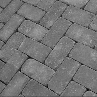 Тротуарная плитка Золотой Мандарин Кирпич Антик 200х100х60 мм на сером цементе черный