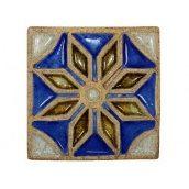 Декоративна шамотна плитка зі склом Зірка 195x195 мм