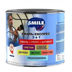 Емаль-експрес SMILE гладке покриття 3в1 антикорозійна 22 кг червоний