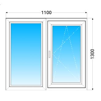Окно из двух частей KBE 58 с однокамерным энергосберегающим стеклопакетом 1100x1300 мм