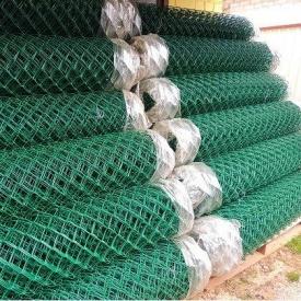 Сетка рабица с ПВХ покрытием 2,5/1,5 мм 50х50 мм 1,2х10 м зеленая
