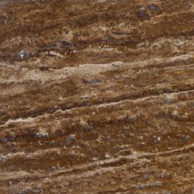 Камень травертин NOCE VC сляб заполненный полированный коричневый