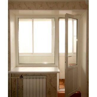 Балконный блок трехкамерный профиль WDS Classic дверь 700х2150 мм+окно 1100х1400 мм