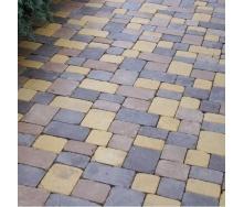 Тротуарная плитка Золотой Мандарин Плац 160х60 мм персиковый на сером цементе