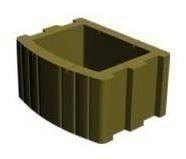 Цветочница квадратная Золотой Мандарин 500х400х250 мм на сером цементе горчичный