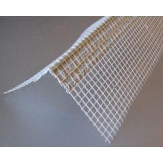 Уголок перфорированный из ПВХ с сеткой из стекловолокна 10х10 см 3 м