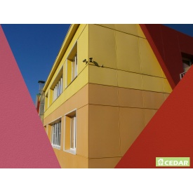 Монтаж фіброцементної плити Cedar 1200х3000 мм червоно-рожевий