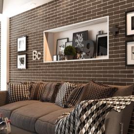 Керамическая плитка Golden Tile BrickStyle The Strand CRYSTAL 60х250 мм коричневый (087020)