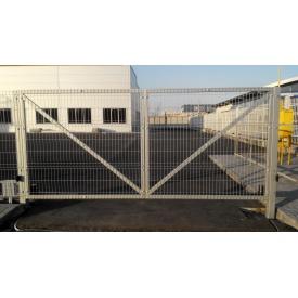 Ворота распашные из сварочных сеточных панелей рубеж серые
